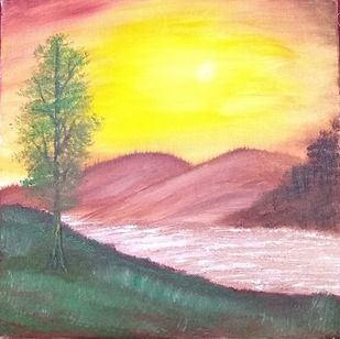 Sunset lake by Jahnavi KJ, Impressionism Painting, Oil on Canvas, Beige color