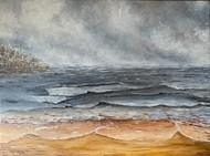 Thunderstorm at the beach Digital Print by Kajal Nalwa,Impressionism
