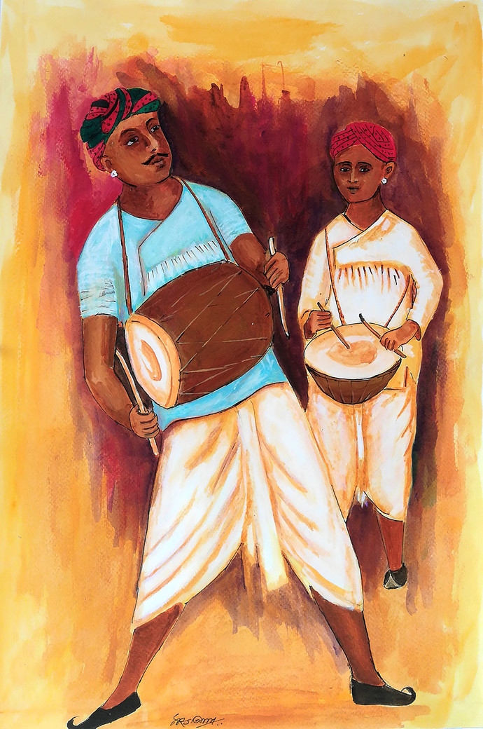 Dhol nagada by NARENDRA NIGAM, Expressionism Painting, Acrylic on Paper, Brown color