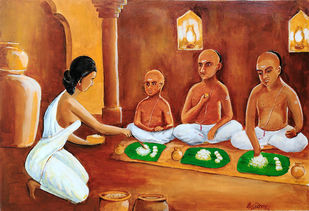 Tamil dinner by NARENDRA NIGAM, Expressionism Painting, Acrylic on Canvas, Brown color