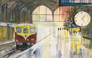 Mumbai LOcal Train by Kanan Ananthasubraman, Impressionism Painting, Acrylic on Canvas, Beige color