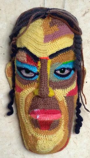 Face 24 by Archana Rajguru, Art Deco Sculpture | 3D, Mixed Media, Brown color