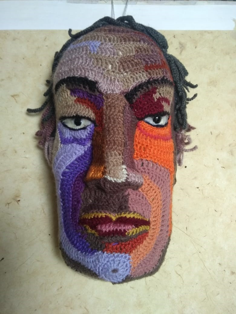 Face 25 by Archana Rajguru, Art Deco Sculpture | 3D, Mixed Media, Beige color