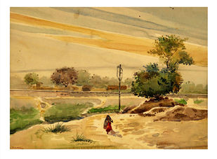 Untitled by B.N Arya, Impressionism Painting, Watercolor on Paper, Beige color