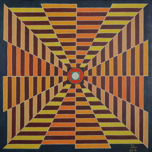 Occular Chimera by Deepika Kapur, Geometrical Painting, Acrylic on Canvas, Brown color
