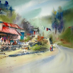 Way to cherrapunji by Niladri Ghosh, Impressionism Painting, Watercolor on Paper, Beige color