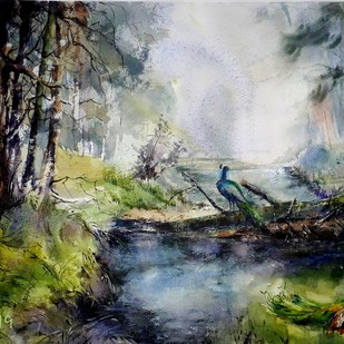 Forest River by Niladri Ghosh, Impressionism Painting, Watercolor on Paper, Gray color