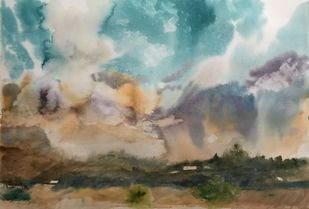 Dramatic Sky by Nahid Aamina Sowkath, Impressionism Painting, Watercolor on Paper, Brown color