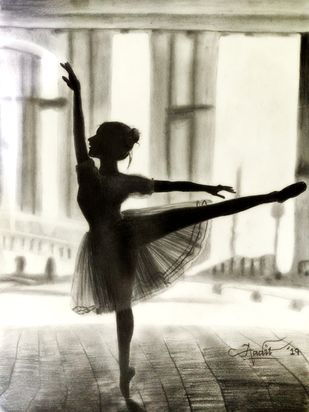 Ballerina - The Dancing Beauty by Aadit Punamia, Illustration Drawing, Pencil on Paper, Beige color