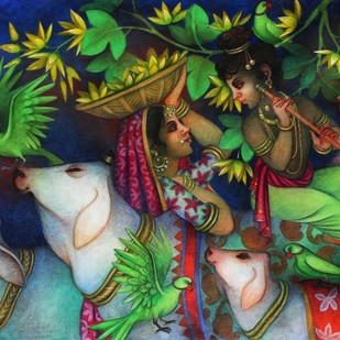 Untitled by Bratin Khan, Traditional Painting, Acrylic on Canvas, Green color