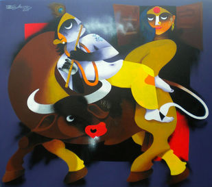 Flute by Uttam Manna, Expressionism Painting, Acrylic on Canvas, Brown color