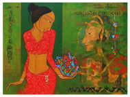 Street Art - III by Hitendra Singh Bhati, Expressionism Painting, Acrylic on Canvas, Green color
