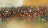 City reflection by M Singh, Expressionism Painting, Acrylic on Canvas, Brown color
