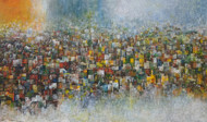 Untitled by M Singh, Expressionism Painting, Acrylic on Canvas, Brown color