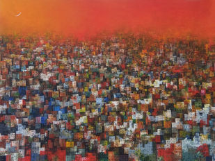 My dream city by M Singh, Geometrical Painting, Acrylic on Canvas, Brown color