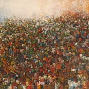 City of my dream by M Singh, Geometrical Painting, Acrylic on Canvas, Brown color