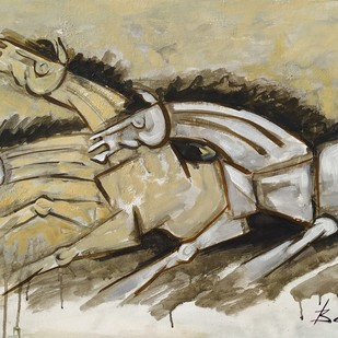 Horses 5 by Balbir Singh, Expressionism Painting, Acrylic on Board, Beige color