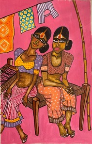 Leisure Time by Parul Aggarwal, Expressionism Painting, Watercolor and charcoal on paper, Pink color