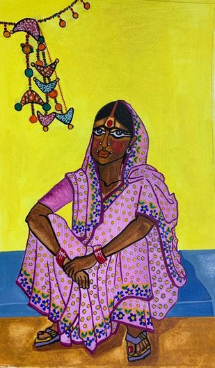 Reflective demeanor by Parul Aggarwal, Expressionism Painting, Watercolor and charcoal on paper, Yellow color