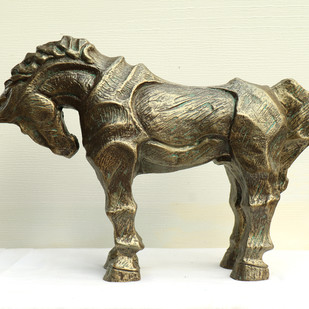horse-3 by Devidas Dharmadhikari, Art Deco Sculpture | 3D, Fiber Glass, Beige color