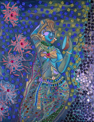 Indian lady with mirror Digital Print by Anita Saran,Traditional