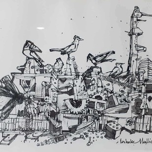 Untitled by Ashoke Mullick, Illustration Drawing, Ink on Paper, Gray color