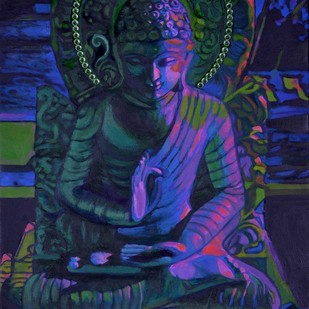 The Buddha by Anita Saran, Expressionism Painting, Mixed Media on Canvas, Blue color