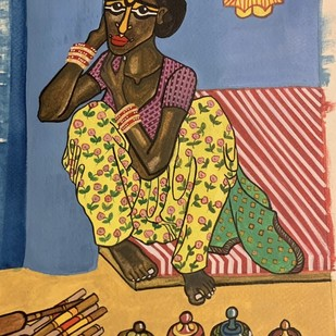 The Ceramic seller by Parul Aggarwal, Expressionism Painting, Watercolor and charcoal on paper, Brown color