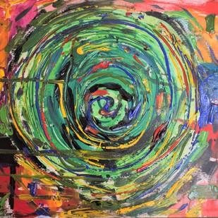 Anahata Chakra by Rabraj Saimy, Abstract Painting, Acrylic on Paper, Green color