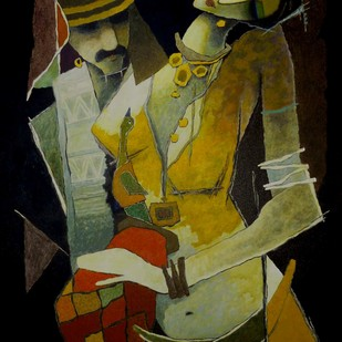 untiteld by Surendra Pal Singh, Expressionism Painting, Oil on Canvas, Green color