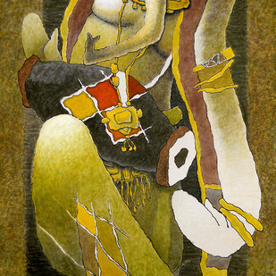 Ganesha by Surendra Pal Singh, Expressionism Painting, Mixed Media on Canvas, Green color