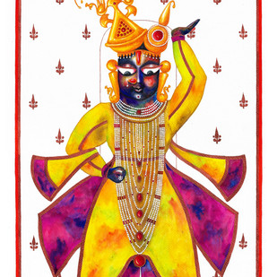 Govardhandhari Shrinathji by Priyanka Joshi, Folk Painting, Watercolor on Paper, White color