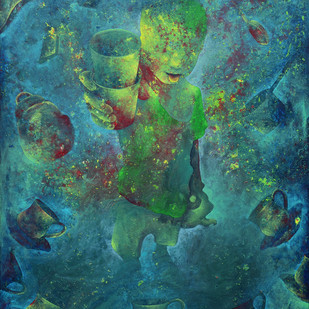 Untitled by Lakhan Singh Jat, Expressionism Painting, Mixed Media on Canvas, Green color