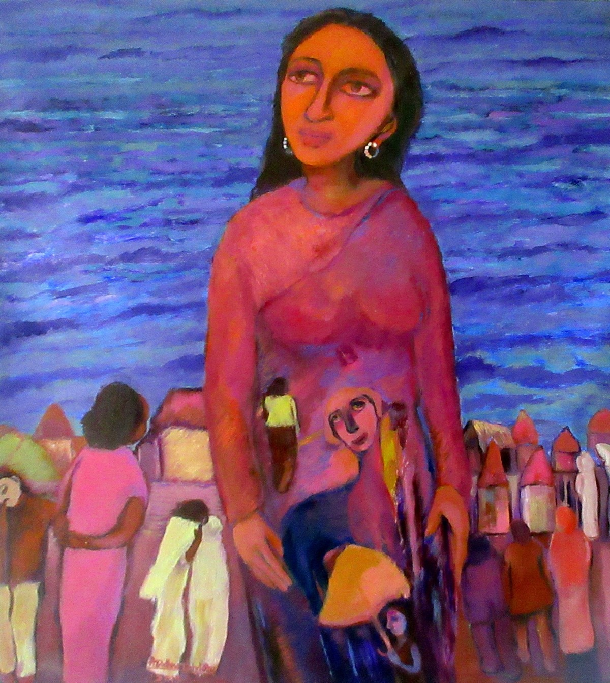 The Desire paradigm. by Aradhna Tandon, Expressionism Painting, Oil on Canvas, Blue color
