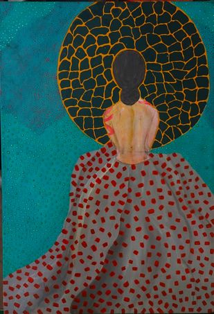 Waiting by Anissha, Expressionism Painting, Acrylic on Canvas, Brown color