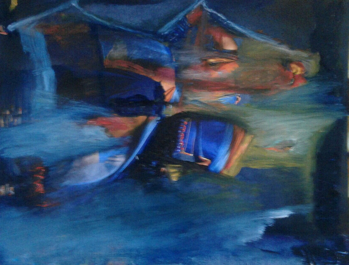 Beyond Windows IV by Wrupanjali Baruah, Abstract Painting, Oil on Paper, Blue color