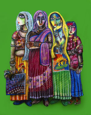 market by Arun K Mishra, Expressionism Painting, Acrylic on Canvas, Green color