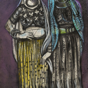 two women by Arun K Mishra, Expressionism Painting, Mixed Media on Canvas, Gray color