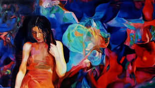 Colour of the Universe XV by Sumitava Maity, Pop Art Painting, Oil on Canvas, Blue color