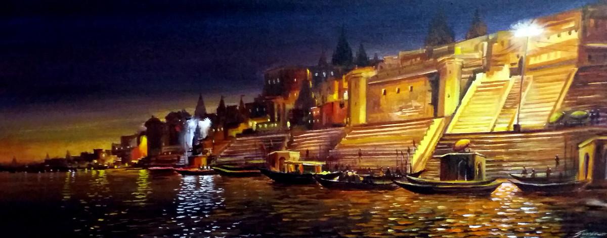 Beauty of Evening Varanasi Ghats by Samiran Sarkar, Impressionism Painting, Acrylic on Canvas, Brown color