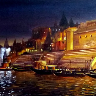 Beauty of Evening Varanasi Ghats by Samiran Sarkar, Impressionism Painting, Acrylic on Canvas, Brown color