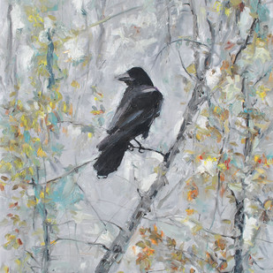Fall Raven Digital Print by Animesh Roy,Expressionism