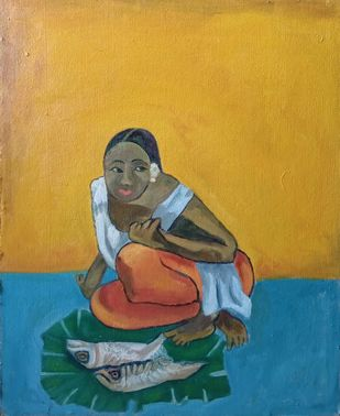 Fisher Women by Balashankar Joshi, Expressionism Painting, Oil on Canvas, Brown color