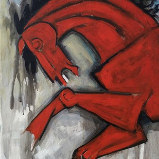 The Horse by Balbir Singh, Expressionism Painting, Acrylic on Board, Brown color