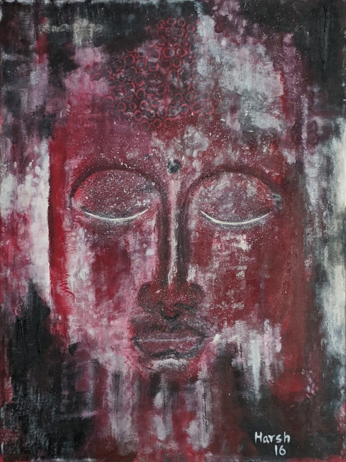 Buddha by Harsh Johari, Art Deco Painting, Acrylic on Canvas, Brown color