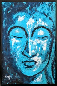 Buddha by Harsh Johari, Expressionism Painting, Acrylic on Canvas, Cyan color