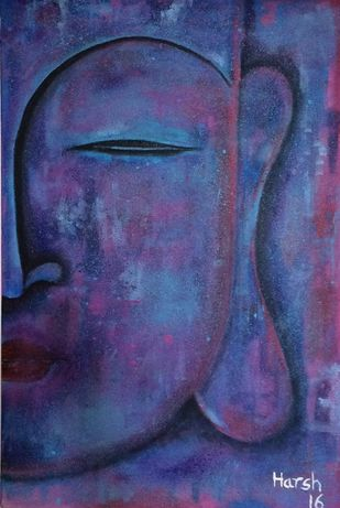Buddha by Harsh Johari, Expressionism Painting, Acrylic on Canvas, Blue color