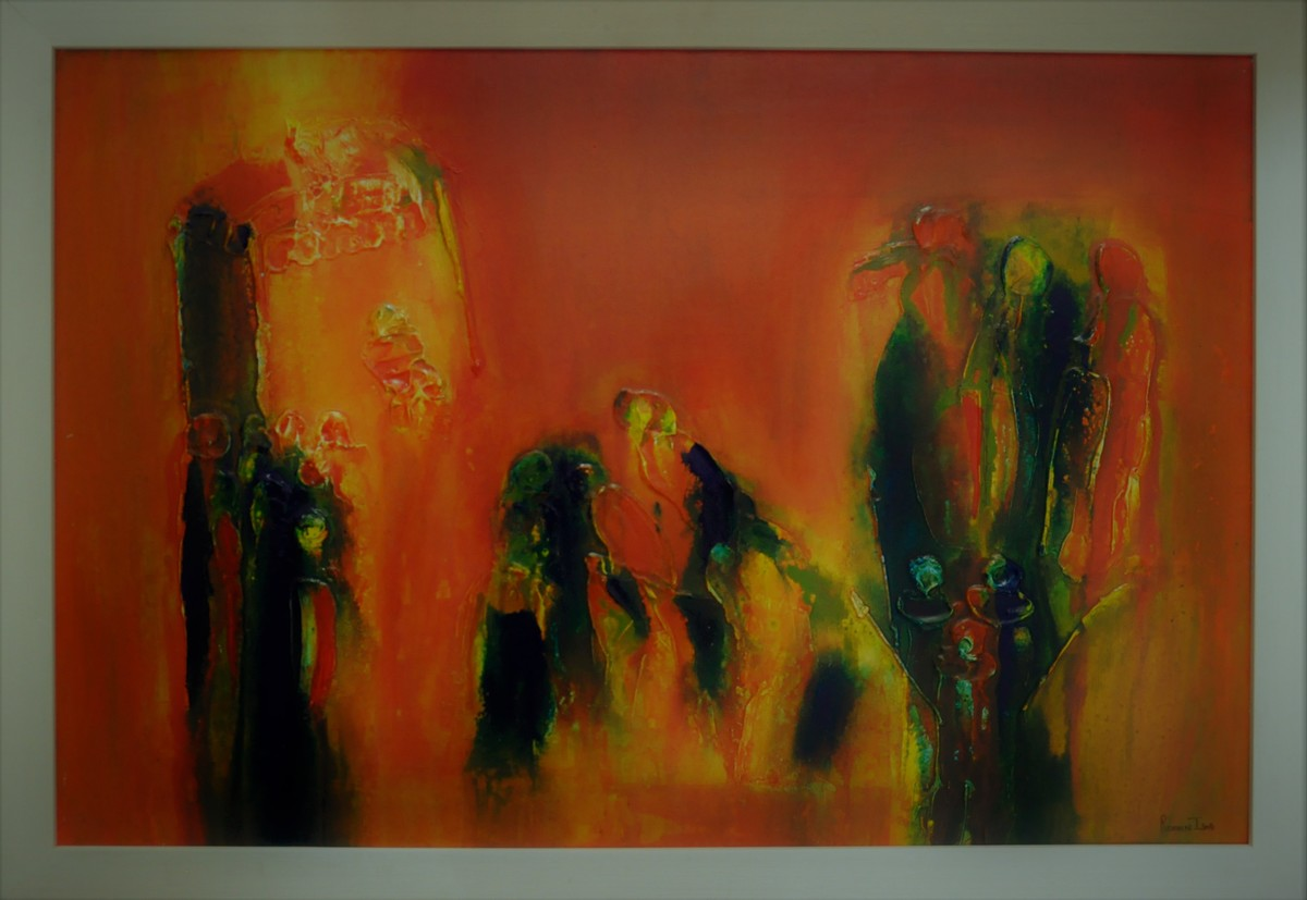 Gathering with society by ROOHIN ILMI , Abstract Painting, Acrylic on Canvas, Brown color