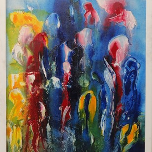 Celebration by ROOHIN ILMI , Abstract Painting, Acrylic on Canvas, Blue color