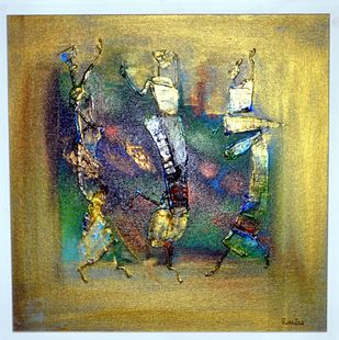 tHE PUPPET by ROOHIN ILMI , Abstract Painting, Acrylic on Canvas, Beige color